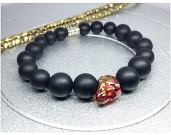 Crystal Skull Bracelet. Swarovski Crystal Skull Red Magma / Matte Black Onyx Yoga Mala Beaded Bracelet. Healing Natural Gemstone Bracelet.
