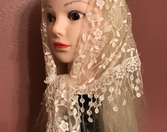 Gorgeous sparkly flowered head covering/ veil,triangles,
