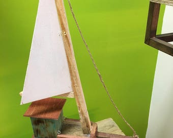 Vintage Recycled Wood Boat