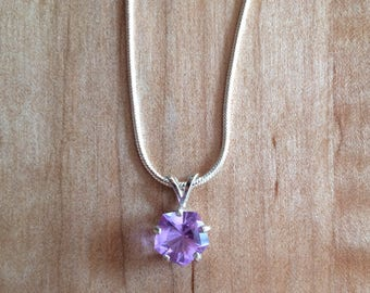 Color Change Glass Crystal Pentagon Cut in Sterling Silver Setting