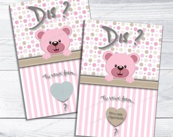 Scratchcard godmother bear pink theme say want you be my godmother