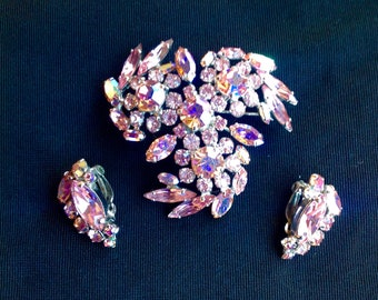Vintage signed Sherman Pink AB Brooch + Earrings