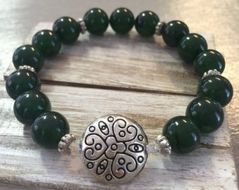 Jade Flowering Heart Bracelet