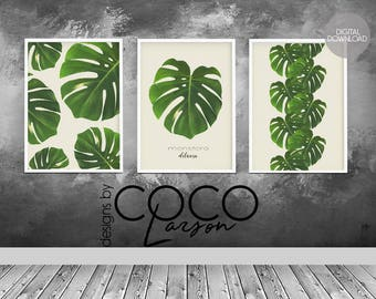 Monstera leaf, monstera print, monstera deliciosa, botanical leaf print, green tropical leaf, botanical leaf, tropical leaf print, set of 3