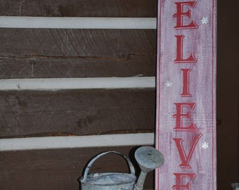 """Vintage Wooden """"BELIEVE"""" sign, Christmas Decor, Distressed, Christmas Gift, Porch sign, rustic porch sign, Christmas wooden believe sign"""