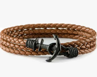 Brown leather anchor bracelet, mens bracelet, mens anchor bracelet,boyfried gift,bracelet homme,bracelet ancre,anchor bracelet man