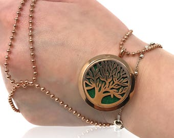 Tree of life aromatherapy diffuser necklace pendant by Himalayan Lotus - Rose Gold and Silver colors