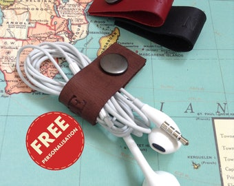 Personalized Leather Earbud Holder Earphone Holder Leather Cord Organizer Personalized Gift Leather Cable Organizer Cord Keeper Cord Holder