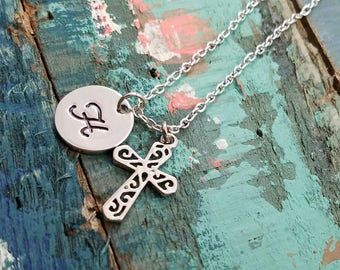 Silver Cross  Necklace Baptism Gift First Communion Necklace Easter Gift Baptism Necklace Personalized Cross Charm Silver Cross