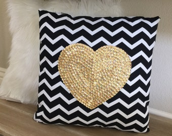 Gold Sequin Heart Chevron Pillow