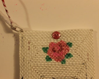 Small wristlet with painted pink rose
