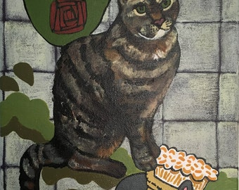 Original acrylic artwork on canvas, artwork, canvas artwork, cat art, cat artwork, handpainted, original, acrylic, painting