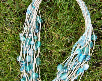 "Twine necklace with glass inserts ""glamour"""