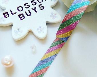 Rainbow Glitter Washi Tape - Sparkle - Sparkly - Bling - Stationery - Masking - Deco Tape