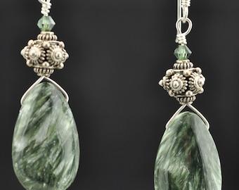 Seraphinite .925 Swarovski dangle Earrings