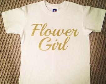 Personalised Flower Girl T-Shirt, Wedding,  Bride,  bridesmaid