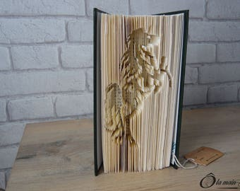 """Book Art """"Horse at the Gallop"""" - decorative object from a book - Collection A open book"""