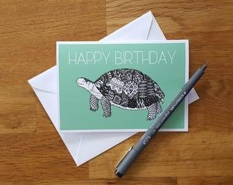 Birthday card | Tortoise | Tortoise card | Green Tortoise | Tortoise birthday card