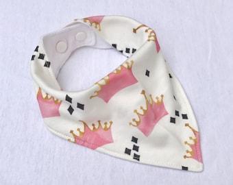 Pink Princess Crowns Bandana Bib, Organic Knit