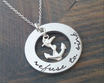 Refuse to Sink Anchor Necklace