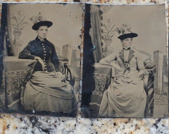 Same Woman in Two Different Dresses: 2 Antique Tintype Photographs