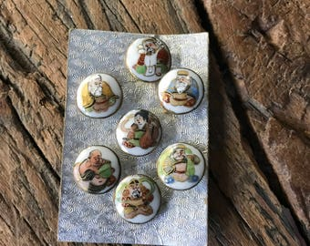 Vintage ceramic porcelain hand painted Japanese gods buttons, 7 on a card