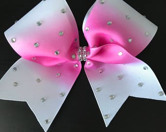 White with Pink Ombre Blinged out Cheer Bow