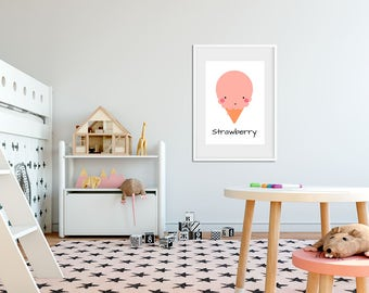 Set of 3 nordic style illustrations-Whimsical children illustration room decor - nordic style print - illustration nursery decor - ice-cream