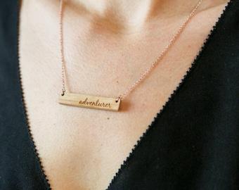 Adventurer Bar Necklace / Travel Gift / Wooden Bar Necklace / Bar Necklace