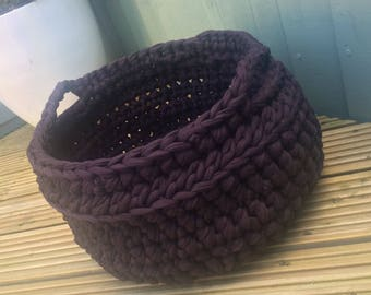 Large storage basket,  storage tub, Chunky T-shirt Yarn Tub, t-shirt yarn basket, crochet basket, brown tub, brown basket, storage basket