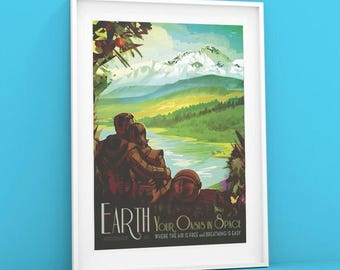 Earth | Giclée NASA Poster Visions of the Future poster, Space Tourism Giclée Shelf Art Print from JPL