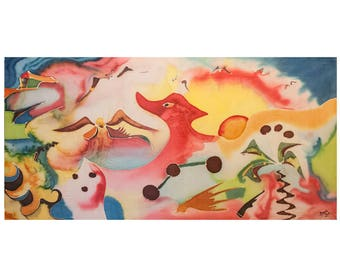 DRAGON by dial-up picture painted with Batik-90 x 45 cm