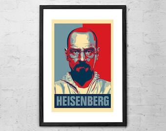 Heisenberg - Breaking Bad - Breaking Bad Poster - Movie Poster - Walter White - Breaking Bad Art - Bryan Cranston - TV Series - Home Decor