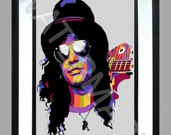Slash. A3 Print , Graphic . Art . Guns and Roses . n