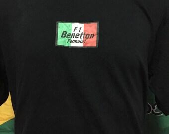 90s Benetton F1 Italia Shirt Spell Out Big Logo Black Colour L-Large Size