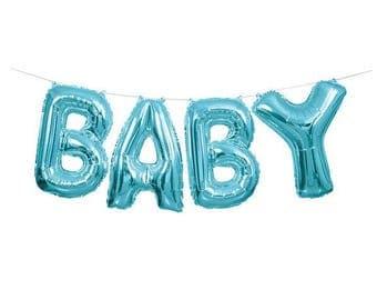 Blue Baby Balloon Banner/ New Baby Boy Balloon Banner/ Blue Baby Letter Balloon Banner/ Baby Boy Balloon Banner