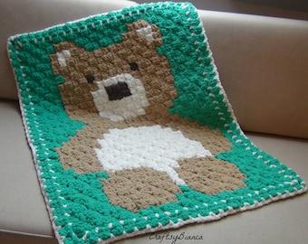 Crochet Bear Baby Blanket, C2C Crochet Blanket, Baby Afghan, Pram Blanket, Baby Shower Gift, Nursery