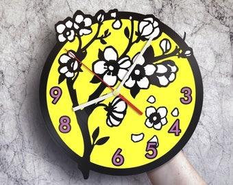 Housewarming gift for mom, Blossom tree decor, Cherry blossom wall art, Kitchen clocks wall,Sympathy gift ideas,Blossom cherry print