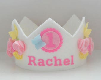 Butterfly Crown, Birthday Crown, Flower Crown, Roses, Wool Felt Crown, First Birthday, Smash Cake, Princess, Dress Up Crown, Spring