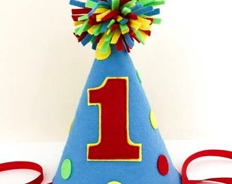 Felt Party Hat with Polka Dots, Birthday Hat,  First Birthday, Photo Prop, Smash Cake, Boy, Girl