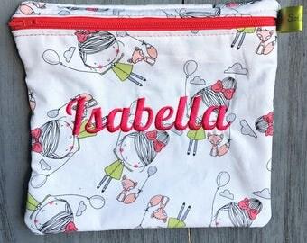 Reusable Sandwich Bag, Fox, PINK, Balloon, Girl, Snack Bag, Eco-Friendly, Monogrammed Lunch, washable bag, Zippered sandwich bag,