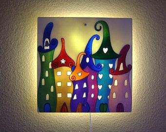 Original Painting Large Glass Wall Sconce Lighting Housings Light Fixture Children Room Large Wall Ligh Fairytale City Kids Room Wall Decor
