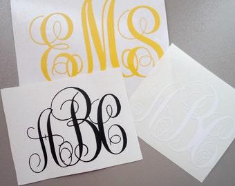 Personalized Vinyl Monogram Decal. Yeti Decal / Monogram Decal / Yeti Tumbler Decal / Car Decal / Yeti Monogram