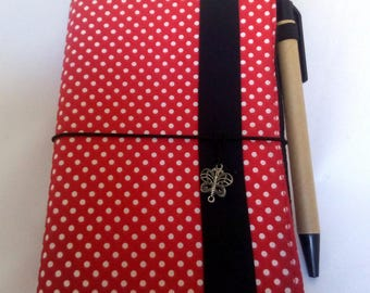 Small notebook cover. White polka dots on Red