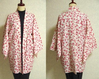 Japanese.old. kimono.free shipping.haori.coat.pink.ivory.