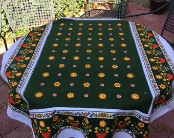 """Vintage green tablecloth with girls 40"""" x 52"""""""