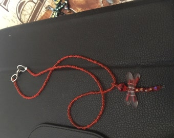 fire spirit red dragonfly short necklace