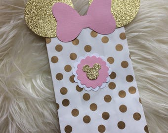 Pink and Gold Minnie Mouse Goodie Bags. Minnie Mouse Favor Bags