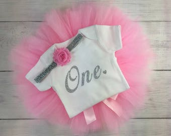 1st Birthday Outfit Girl One Tutu Outfit Cake Smash Shirt Pink and Silver Glitter Onesie Bodysuit Headband Photo Prop