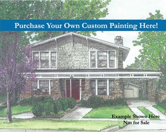 Order Your Own Custom Home Painted Portrait Here!  House Portraits, Anniversary, House Warming, New Home, Real Estate Closing, Unique Gift